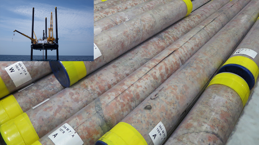 Core samples and drilling rig in the Gulf of Mexico.