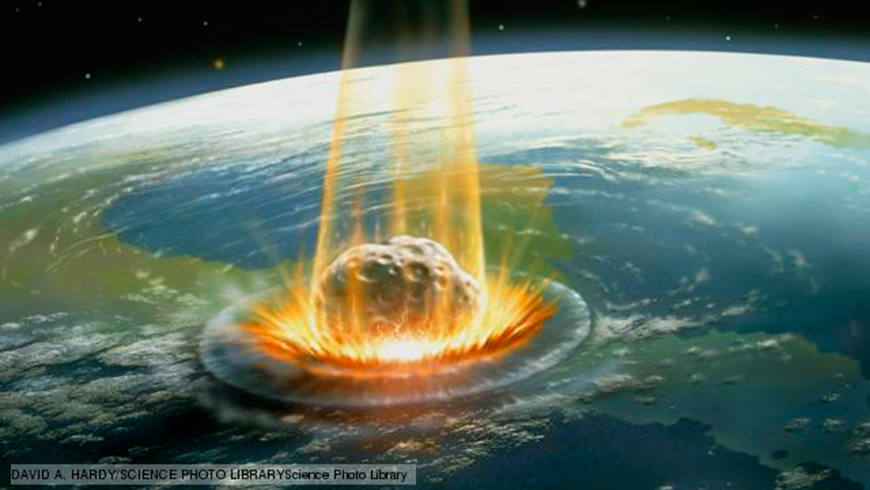 Artist's conception of the moment of impact of the Chicxulub meteorite.