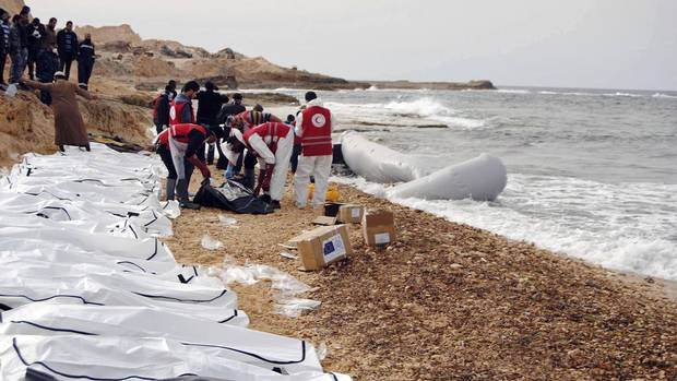 The bodies of people that washed ashore and were recovered by the Libyan Red Crescent are seen near Zawiya, Libya, on Feb. 20, 2017.