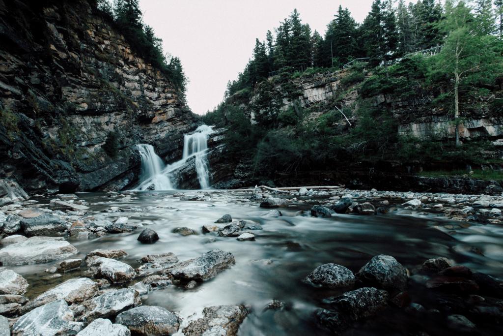 Long exposure of Cameron Falls in Waterton Lakes National Park