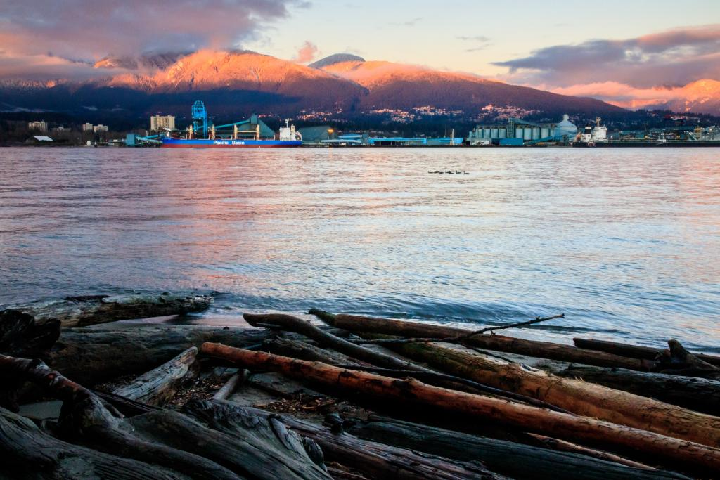 Spectacular winter sunset over Vancouver's North Shore, as seen from Stanley Park.