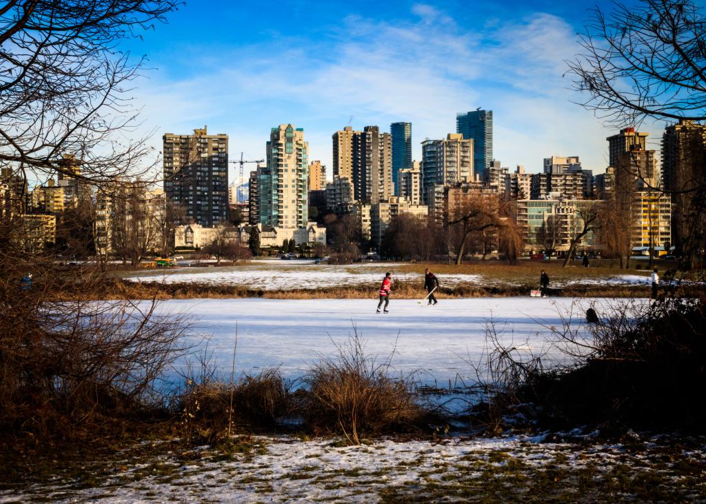 A frozen pond at Vanier Park in Vancouver offers a perfect location for an outdoor game.