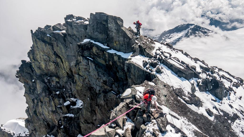 This photo is at the notch just below the summit of Joffre Peak. Taken during a summer trip with the British Columbia Mountaineering Club.