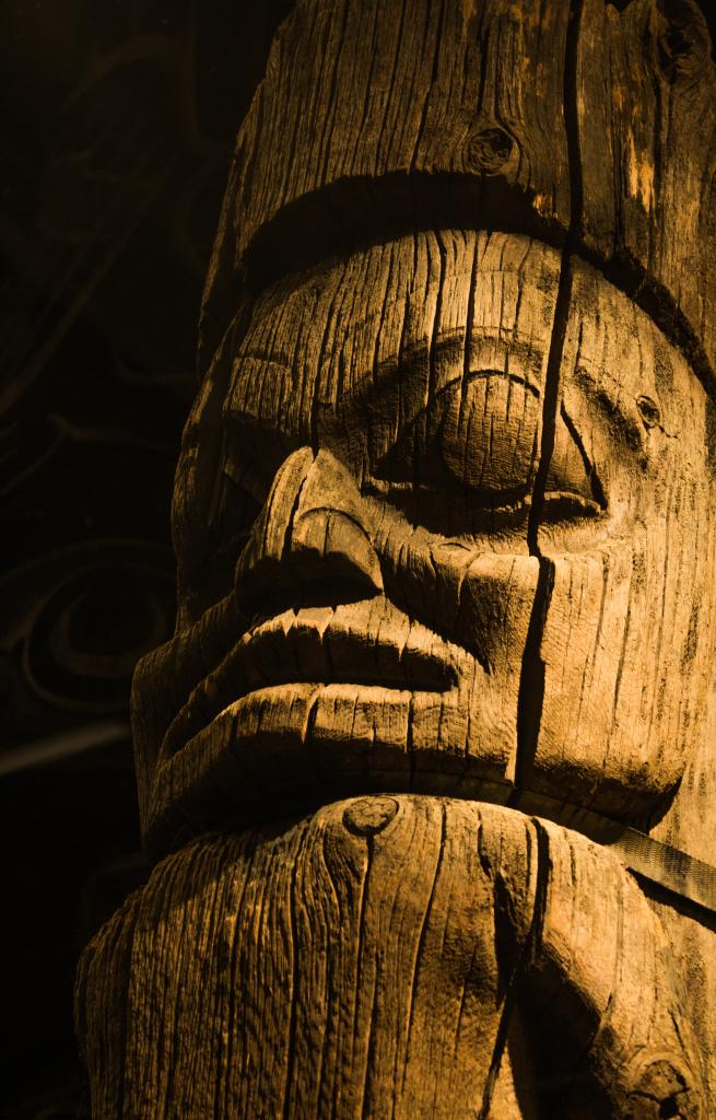 Just one of many captivatingly charged faces carved into this old cedar totem found on Vancouver Island. It demonstrates the craftsmanship and personality of its historic carver.