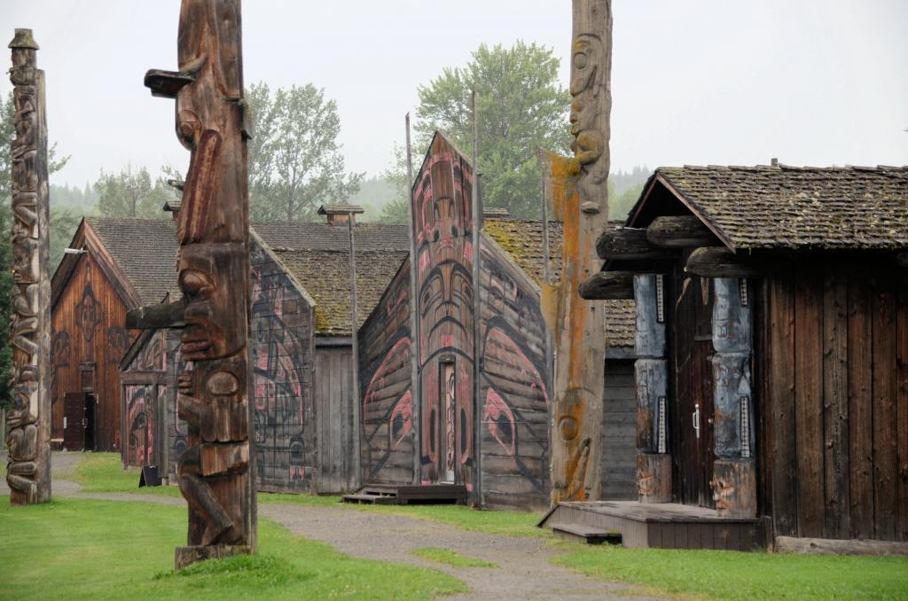 'Ksan is a cultural interpretive centre approximately 180 miles east of Prince Rupert, BC, dedicated to demonstrating and showcasing the richness of Gitxsan culture and heritage.<br /> 'Ksan Historical Village & Museum, is a reconstructed village of the People of the River of Mist the Gitxsan, featuring more than 600 Gitxsan and Wetsuweten artifacts, guided cultural tours, traditional songs and dancing, a carving area, Gitxsan totem poles and a series of traditional First Nation houses overlooking the confluence of the historic Bulkley and Skeena rivers.