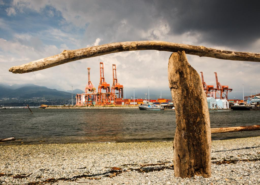 This urban beach and green space in Vancouver exists alongside Canada's largest port, and is overseen by the North Shore mountains.