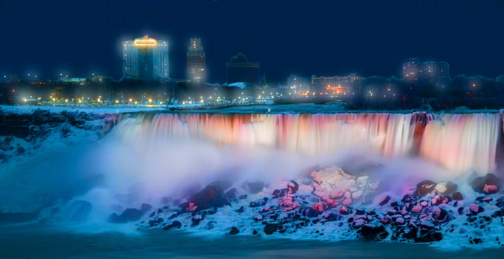 34th Annual Ontario Power Generation Winter Festival of Lights.Dec 2016. New efficient LED lighting showcases the beauty of the Falls and is Canada's largest illumination festival. 200 volunteers participate in a long-standing community event to attract visitors in winter. Having the highest flow rate of any waterfall in the world, the Falls supply clean, renewable energy. Community and nature fuse with science, art and sustainability.