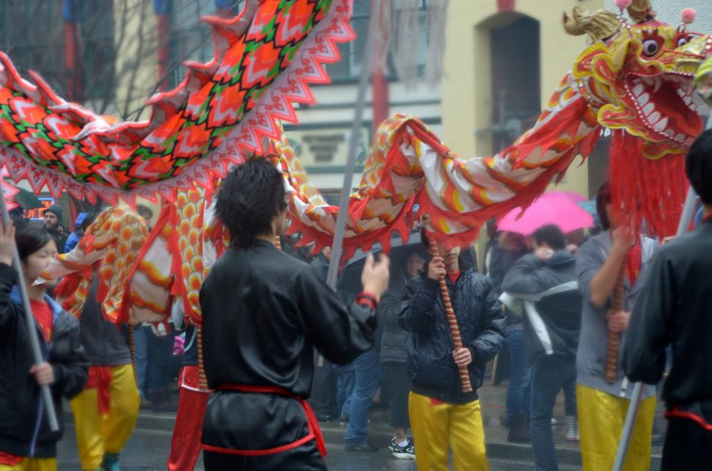 In British Columbia there is a thriving and vibrant Chinese culture in the major cities of Victoria and Vancouver. Many Chinese Canadians trace their roots back to the gold rush days of the late 1850's. In this photo taken on Chinese New Year in Victoria, participants celebrate with the traditional Dragon Dance.