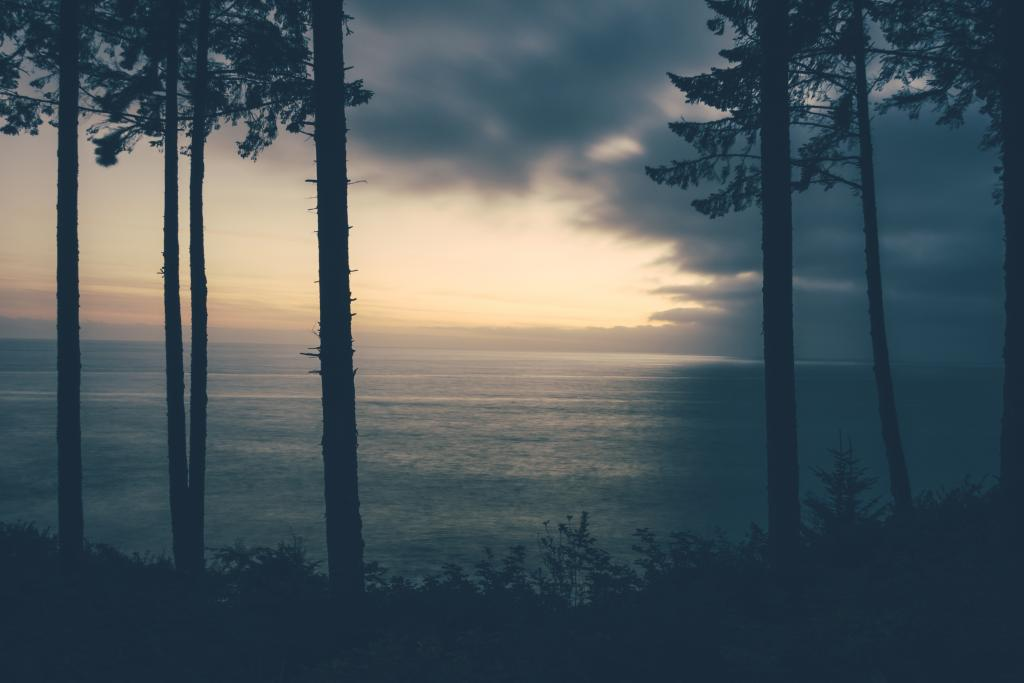 The Juan de Fuca Strait on Vancouver Island just before sunset after a story day.