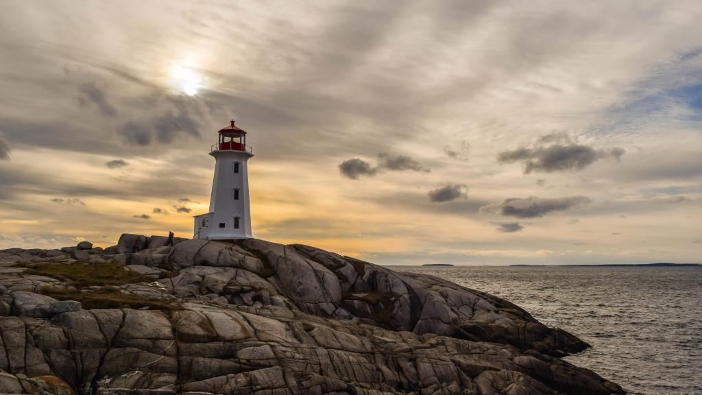 A beautiful sunset as seen from the iconic lighthouse at Peggy's Cove