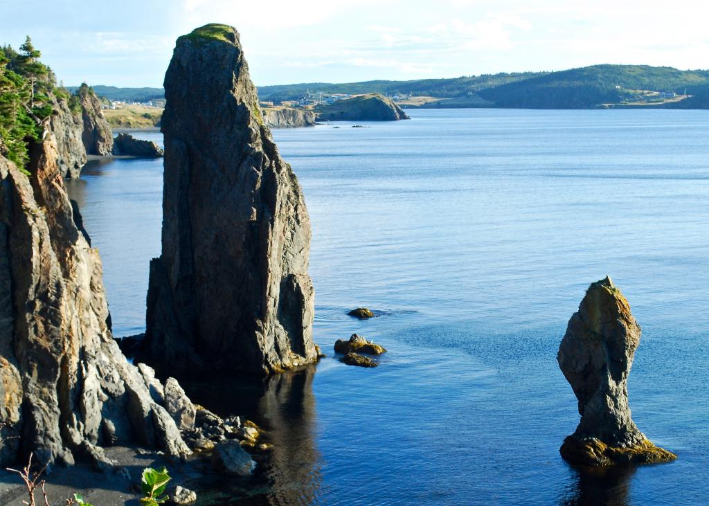 These sea stacks are visible from Skerwink Head, a rocky peninsula just outside of Trinity, Newfoundland.