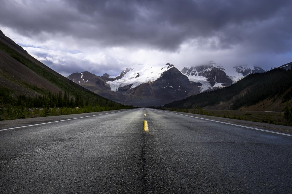 I was given permission from my wife to head up on a mini road trip up to Jasper. I took full advantage of this opportunity. This shot was not planned at all. I was driving along highway 93 heading towards the columbia ice fields and this image just popped right out at me. I took a quick second to take the shots as my car idled next to me. There is something about this image that I really like.