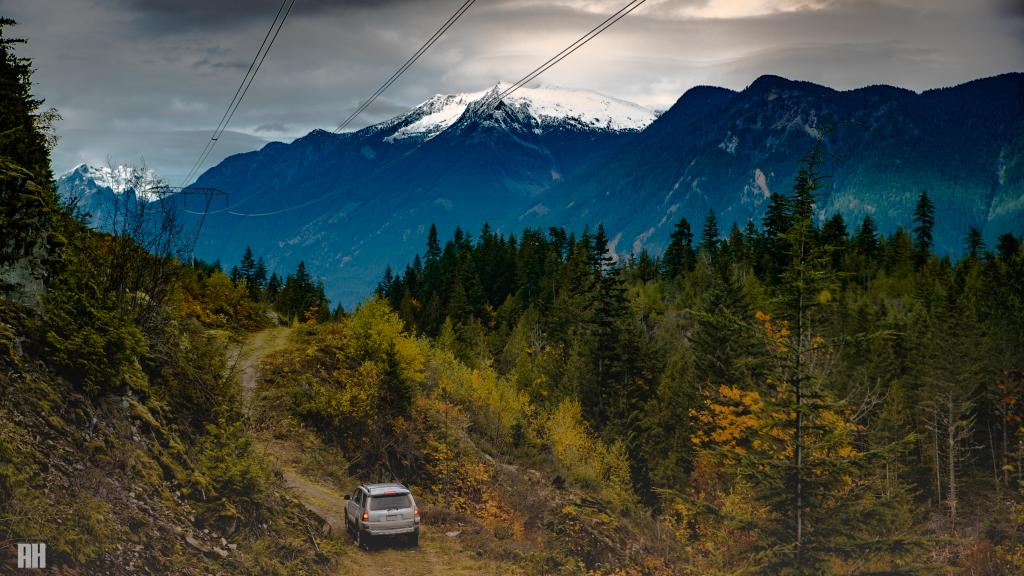 This stretch of service road begins in Mission, BC and ends at the sleepy town of Pemberton, just north of Whistler, BC. The off road journey takes around 6 hours to complete. Crossing pristine lakes between ice capped Rockies.