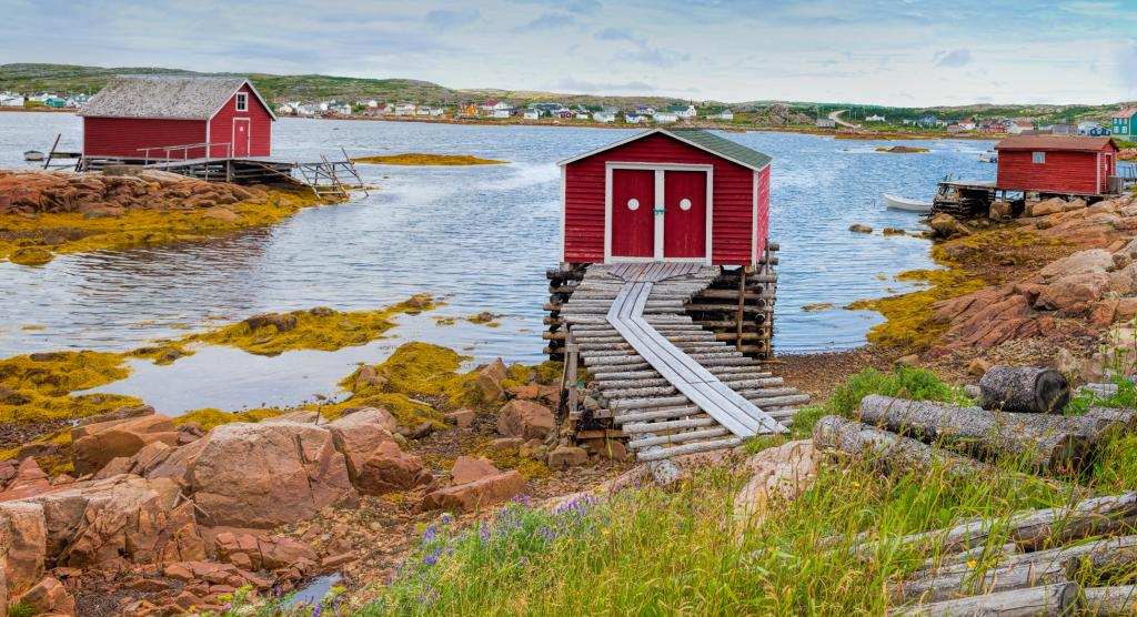Associated with cod fishery, a stage is a wooden vernacular building to land fish for salting and drying; traditionally painted with a red ochre paint and white circle to make more visible after dark.