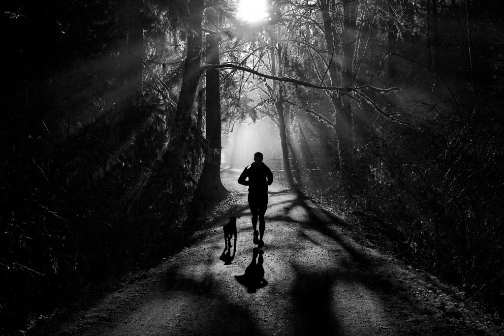 On a misty morning near Hyde Creek in Port Coquitlam, B.C., a man runs with his dog on the Trans Canada Trail. This trail is the world's longest network of recreation trails that stretches across Canada. For future generations to enjoy, to stay active and healthy, surrounded by the natural beauty that Canada is known for.