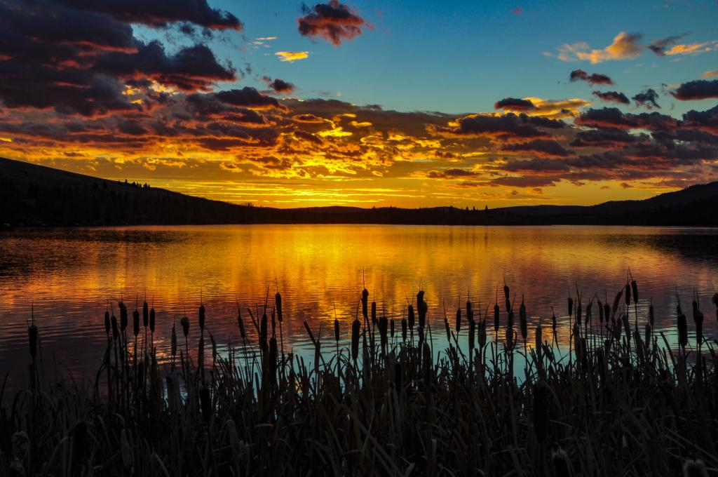 Some amazingly colourful light at sunrise over Beauvais Lake in southern Alberta.