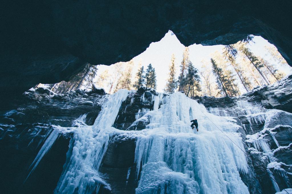 An ice climber deep in Malign Canyon