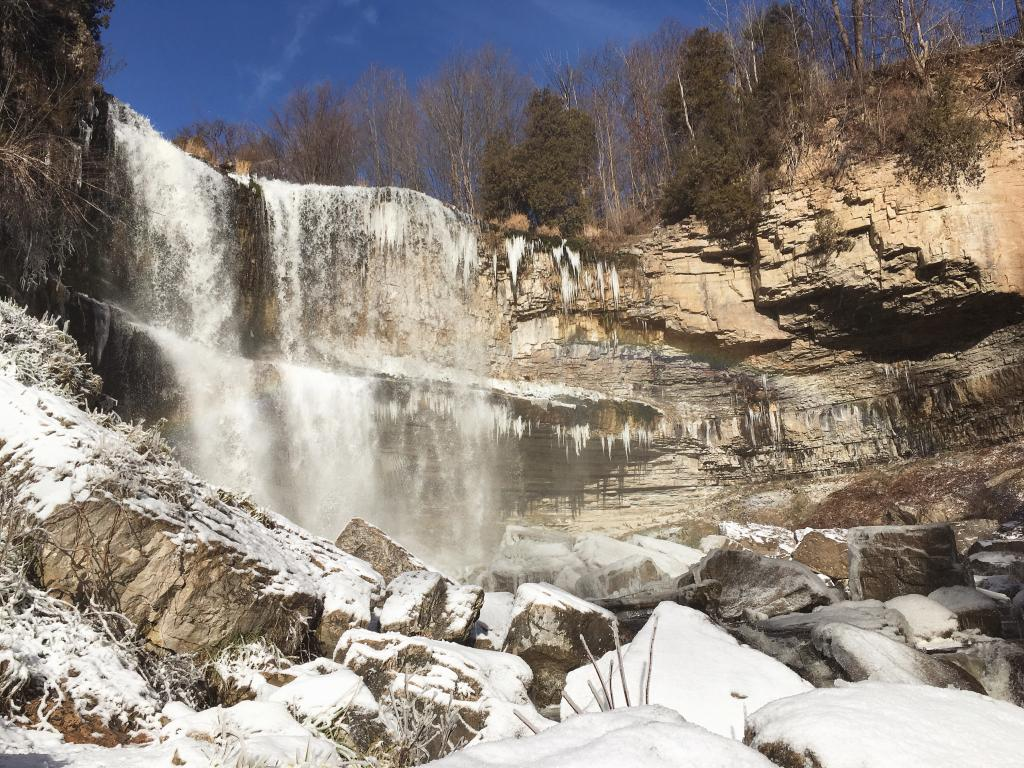 Living in Hamilton for my Undergraduate degree has been such a rewarding experience. Hamilton has so much to offer Canada, including over 200 waterfalls. The picture above was taken from the bottom of Webster's Falls, the destination point of a sunny winter hike.