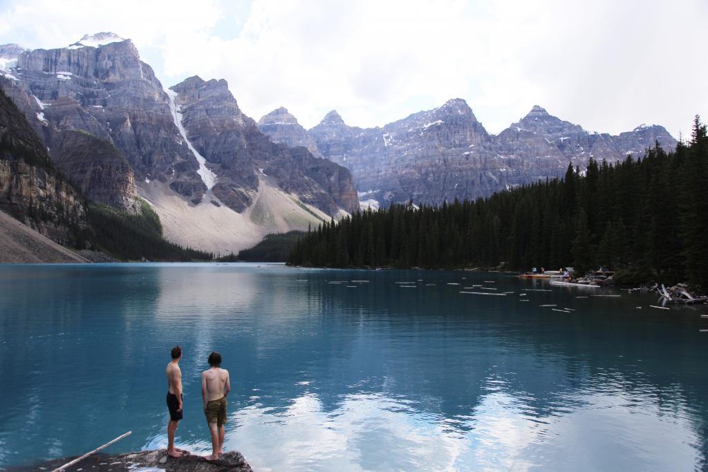 Summer swimming in Moraine Lake