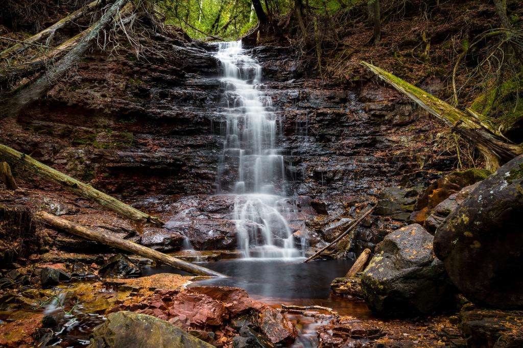 Hidden falls located near Nipigon, Ontario. There are no signs or other signs that this treasure exists. Certainly a magical place for reflection.