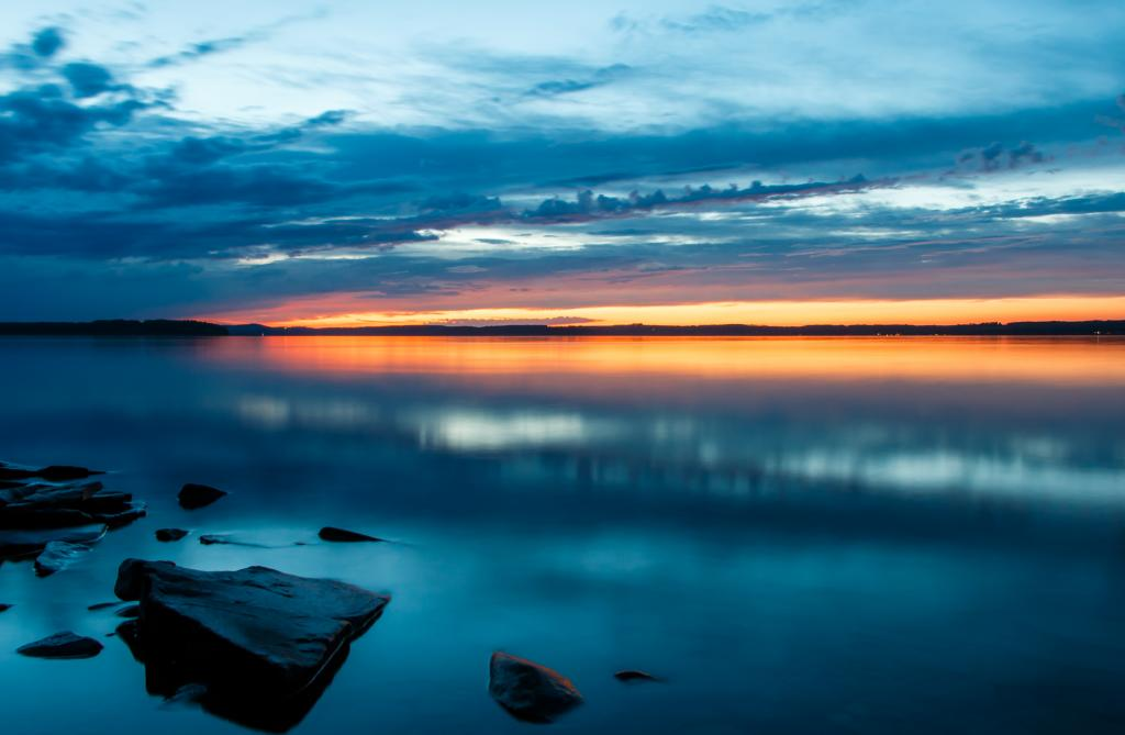 The sunset over Sylvan Lake, Alberta during the summer solstice in 2016. It was a very calm evening for being the longest one of the year.