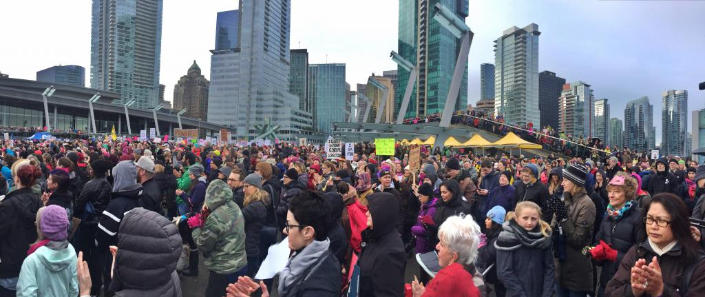 Crowd at Jack Poole Plaza - Million Women's March