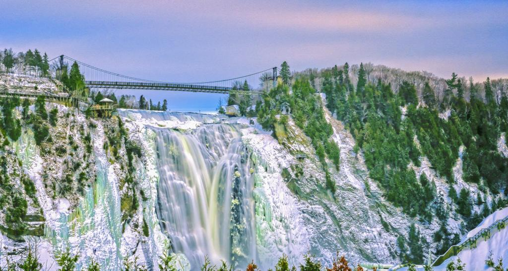 Located on the Montmorency River near Quebec City, the falls are the highest in the province.Visitors have a spectacular view from staircases, a suspension bridge over the falls and an aerial tram.Ice climbing on the falls is a winter adventure here too.In 1613, Samuel de Champlain named the falls in honour of Henri II, duc de Montmorency, who served as viceroy of New France.