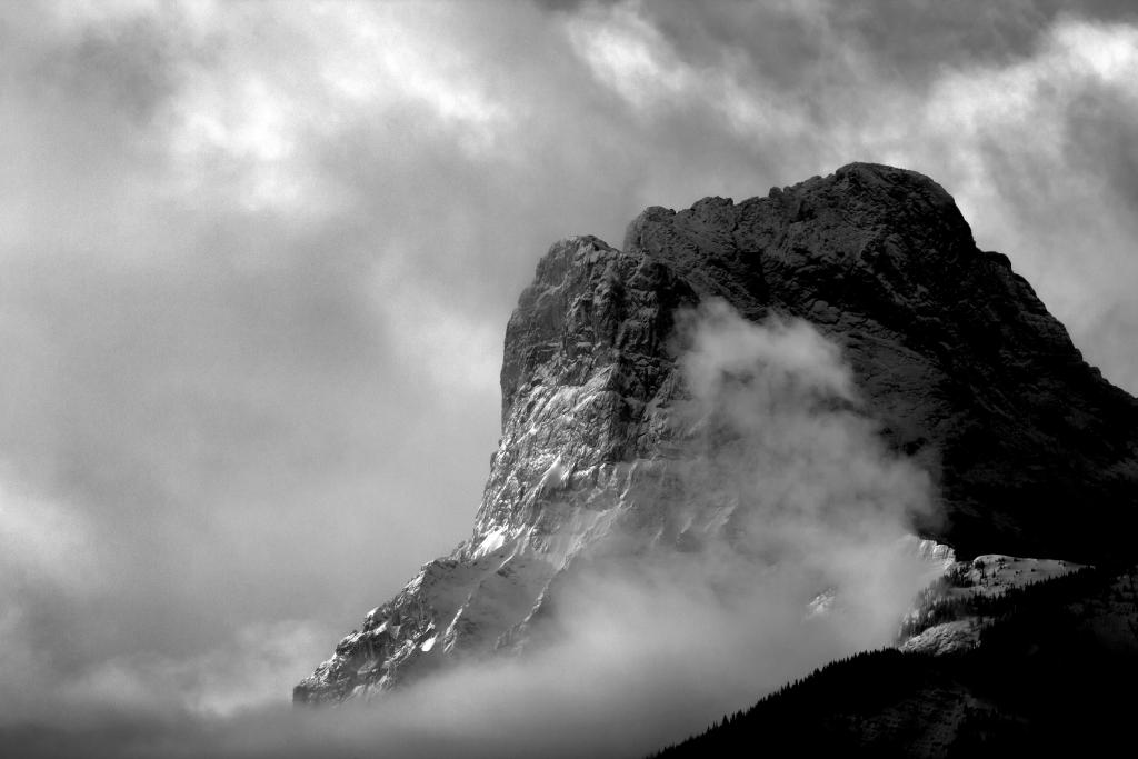 This photo depicts the mountain known as Little Sister early on a February morning as a powerful storm clears.