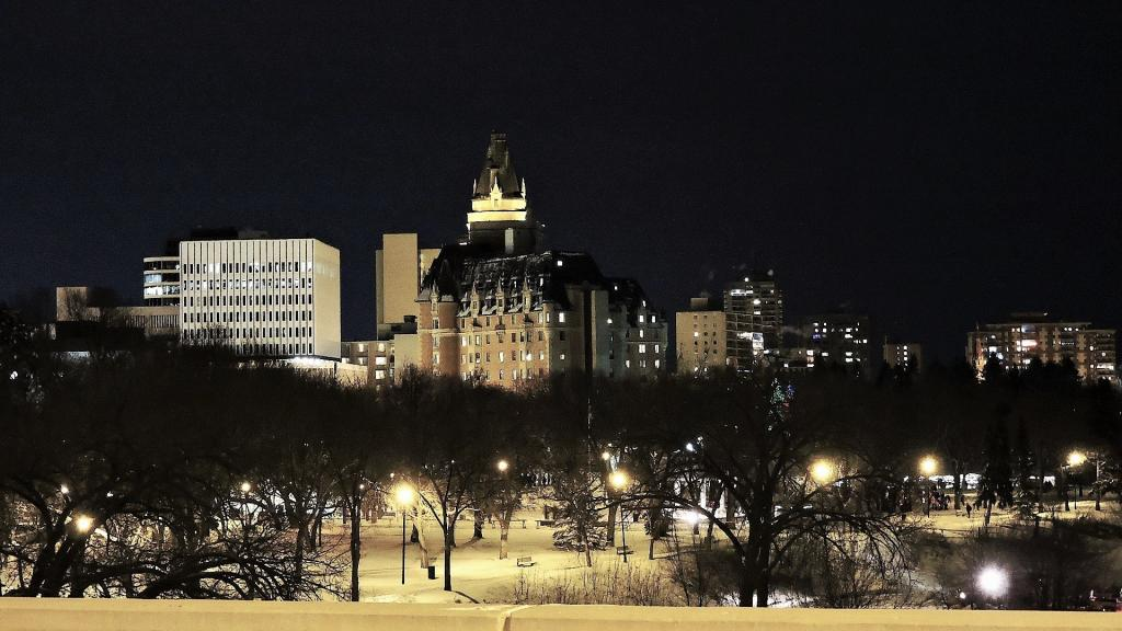 Taken on New Year's Eve, 2016 from the Broadway Bridge, the historic Delta Bessborough stands in watch over the evenings festivities, while people listen to indigenous and ethno-cultural music and wait for the fireworks display to celebrate Canada's 150th Anniversary.