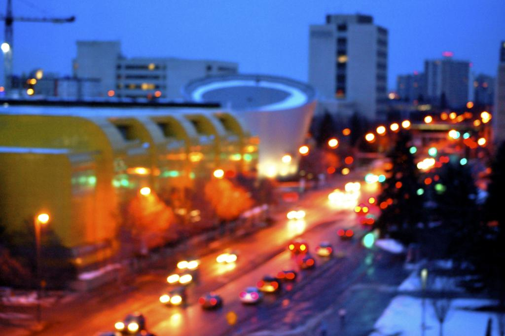 A late winter evening glow surrounds the Butterdome, part of the University of Alberta - one of the finest education and especially scientific institutions in Canada