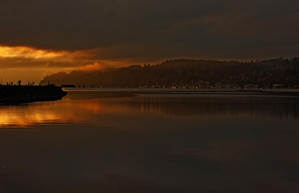 I enjoy getting up early to catch the golden hour.  This image was taken early in the morning from the mouth of the Cowichan river that flows into Cowichan Bay.  The scene is looking towards the village of Cowichan Bay as the Sun rises.