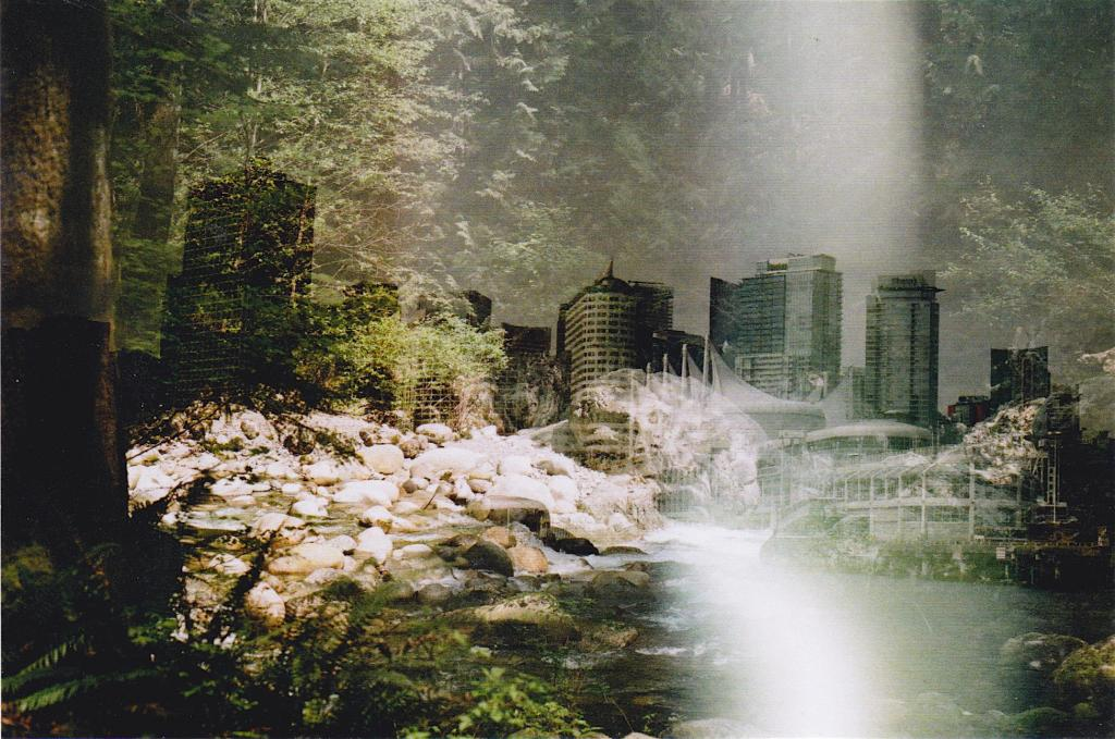 A double exposure capturing two elements of the dichotomous Canadian landscape in an attempt to remedy them into a single microcosm.